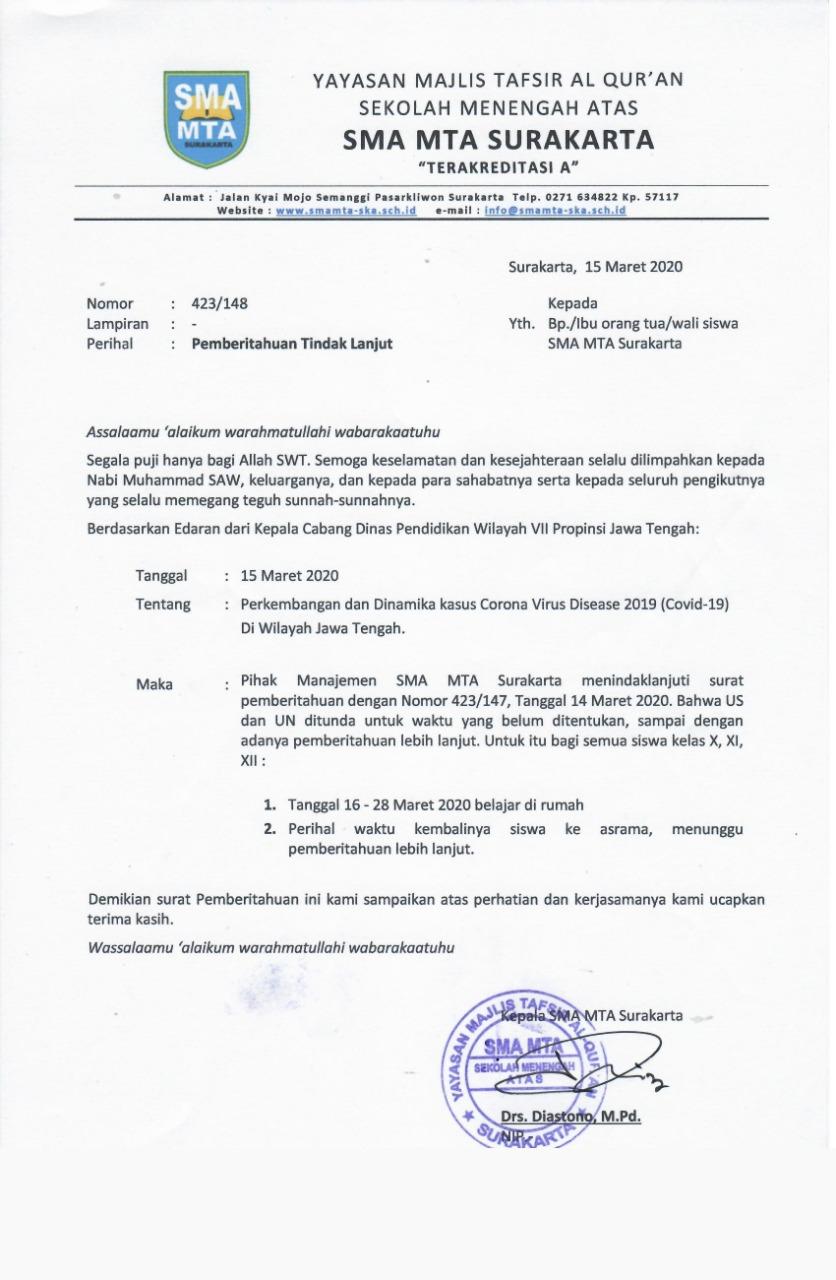 Kesiapsiagaan Menghadapi Corona Virus Disease 2019 (Covid-19) Pihak Manajemen SMA MTA Surakarta